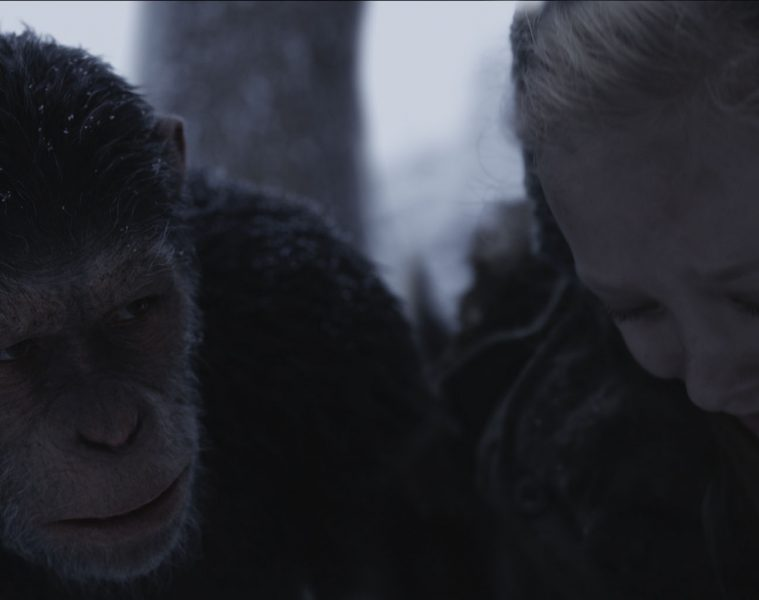 """Andy Serkis and Amiah Miller star as Caesar in Twentieth Century Fox's """"War for the Planet of the Apes."""""""